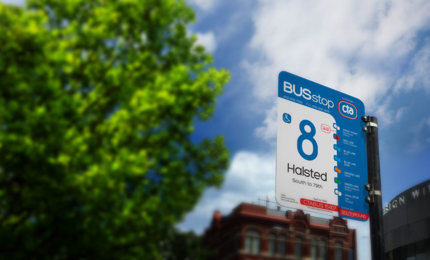 How would an evolved CTA bus stop sign look?